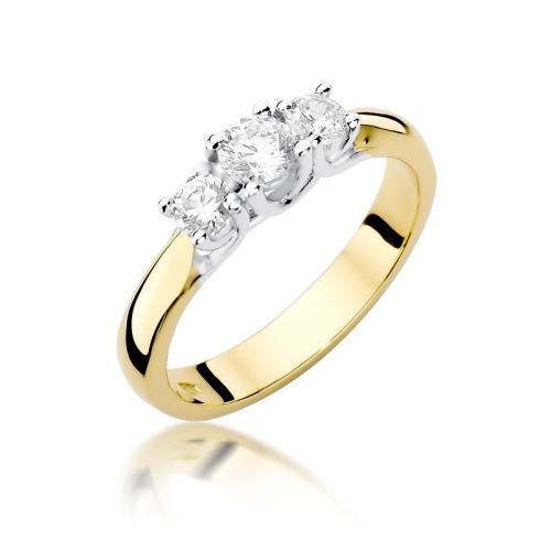Pierścionek zaręczynowy 585 złoto z brylantami 0,49ct