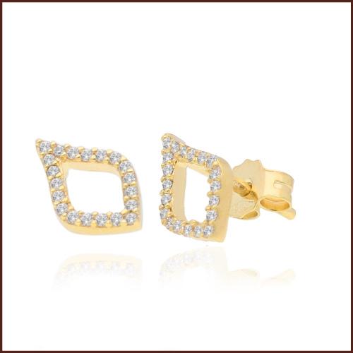Złote kolczyki z cyrkoniami - Listki pr.585