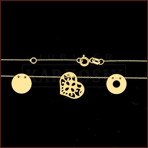 Złoty Naszyjnik Potrójna Celebrytka - Ażurowe Serce pr.585