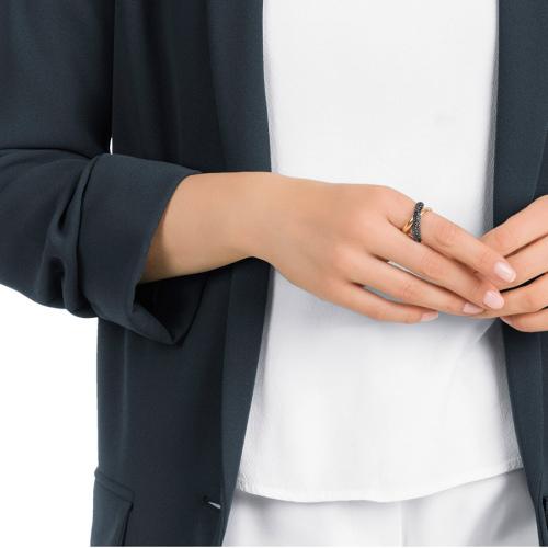 Pierścionek SWAROVSKI - Cross Ring, Black, Rose gold 5348407 55