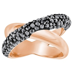 Pierścionek SWAROVSKI - Cross Ring, Black, Rose gold 5348407 55