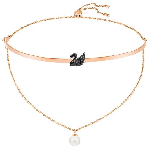 Naszyjnik SWAROVSKI - Iconic Swan Choker, Black, Rose gold 5351807