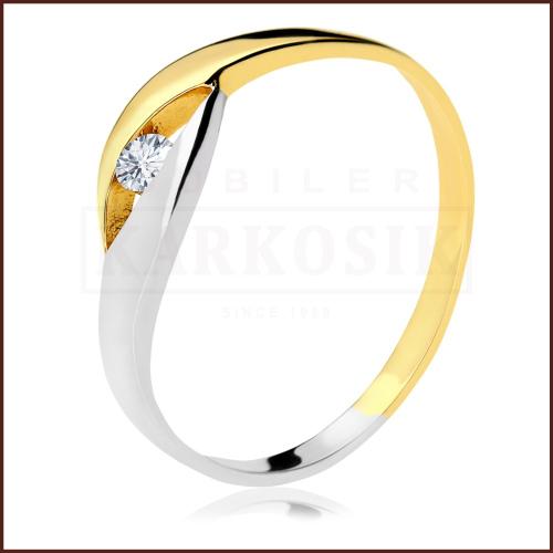 Pierścionek zaręczynowy 585 złoto z brylantem 0,07ct