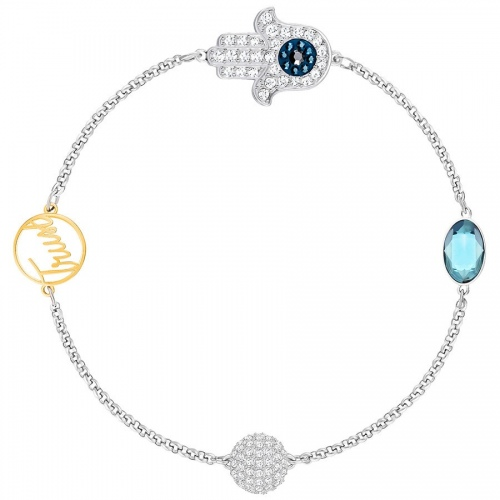 Bransoletka SWAROVSKI - Remix Collection Hamsa Hand Symbol, Blue 5365759