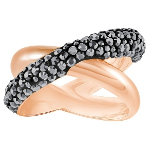 Pierścionek SWAROVSKI - Cross Ring, Black, Rose gold 5372888 58