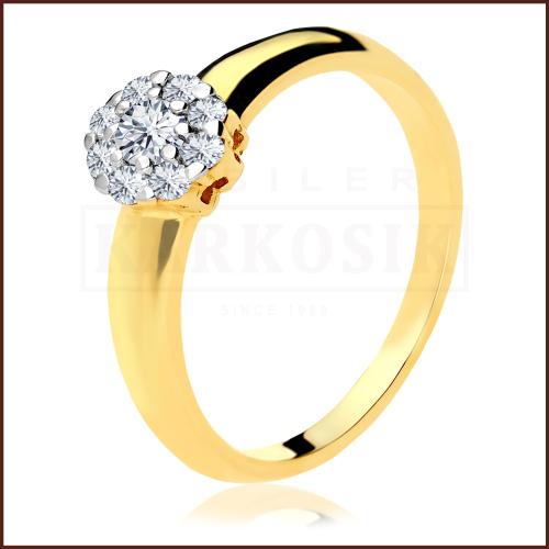Pierścionek zaręczynowy 585 złoto z brylantem 0,21ct