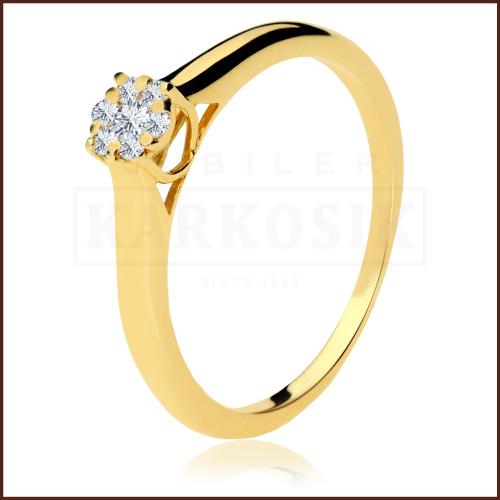 Pierścionek zaręczynowy 585 złoto z brylantem 0,125ct