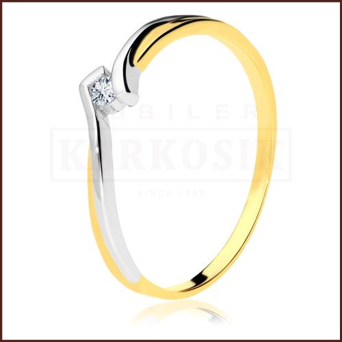 Pierścionek zaręczynowy z brylantem 0,035ct pr.585