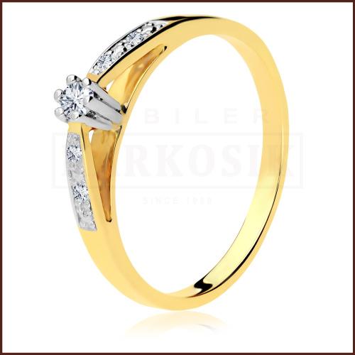 Pierścionek zaręczynowy 585 złoto z brylantem 0,074ct