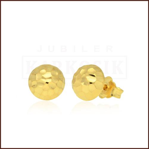 Złote kolczyki - Diamentowane Półkule 6mm pr.585