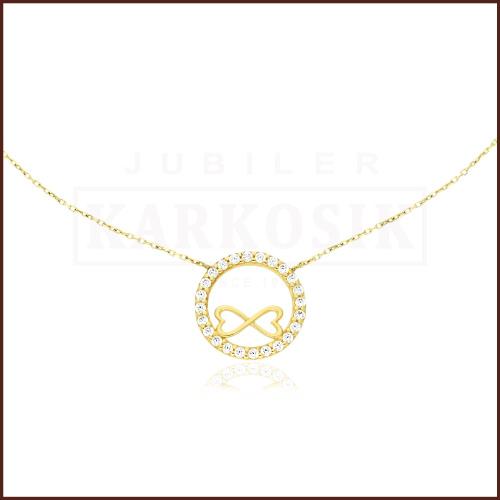 Złoty Naszyjnik Celebrytka z Cyrkoniami Nieskończona Miłość pr.333