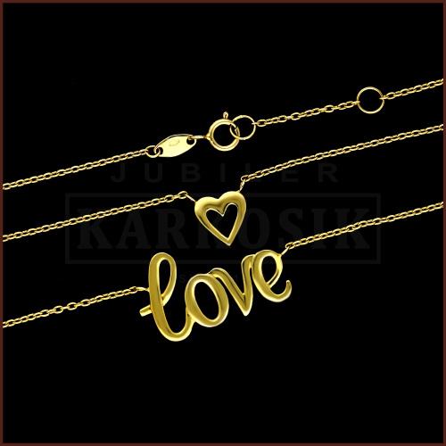 Złoty Naszyjnik Celebrytka Love pr.333