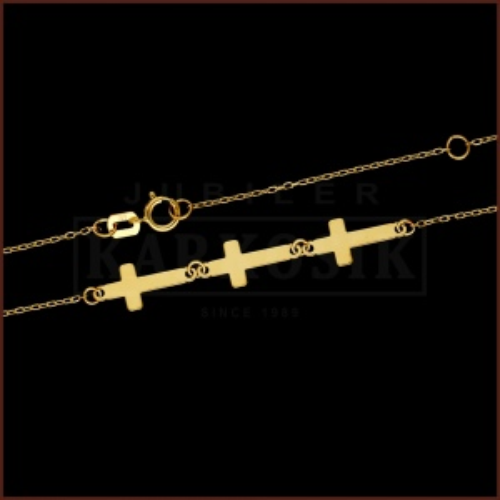 Złoty Naszyjnik Celebrytka Potrójny Krzyżyk pr.333