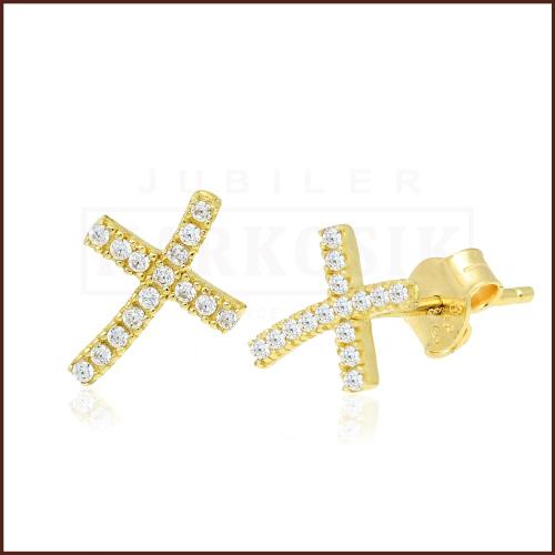 Złote kolczyki z cyrkoniami - Krzyżyki pr.333