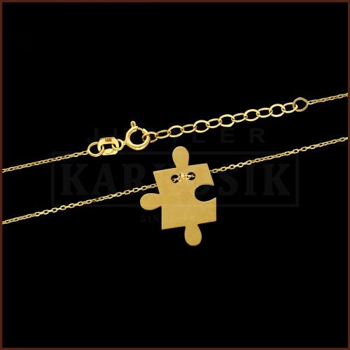 Złoty Naszyjnik Celebrytka - Puzzel  pr.585