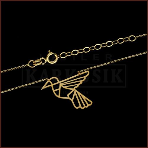 Złoty Naszyjnik Celebrytka - Origami Ptaszek  pr.585