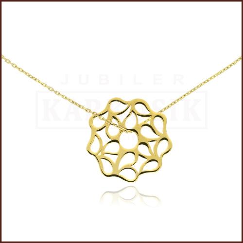 Złoty Naszyjnik Celebrytka - Kwiatek pr.585
