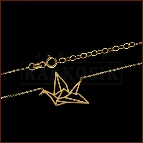 Złoty Naszyjnik Celebrytka - Origami Ptak pr.585
