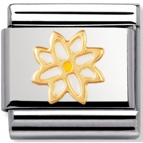 Nomination - Link 18K Gold Tort Biały Kwiatek 030214/09