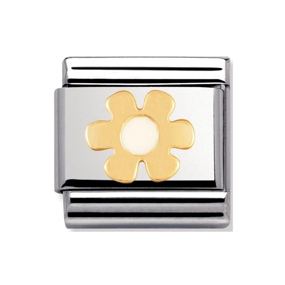 Nomination - Link 18K Gold Biały Kwiatek 030214/36