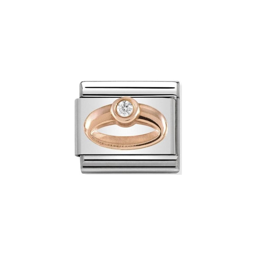 Nomination - Link 9K Rose Gold Pierścionek z Cyrkonią 430305/04
