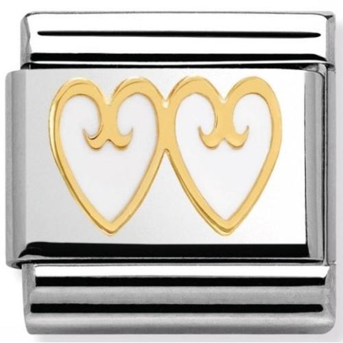 Nomination - Link 18K Podwójne Białe Serce Gold 030279/13