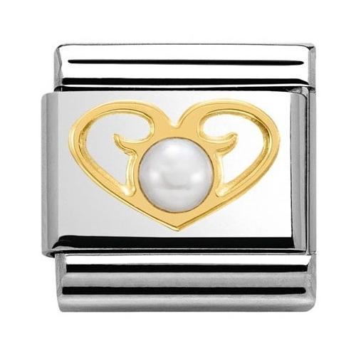 Nomination - Link 18K Gold 'Serce z Białą Perłą' 030513/01