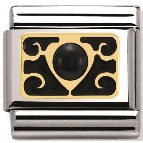 Nomination - Link 18K Gold Agat z Wzorem 030514/01