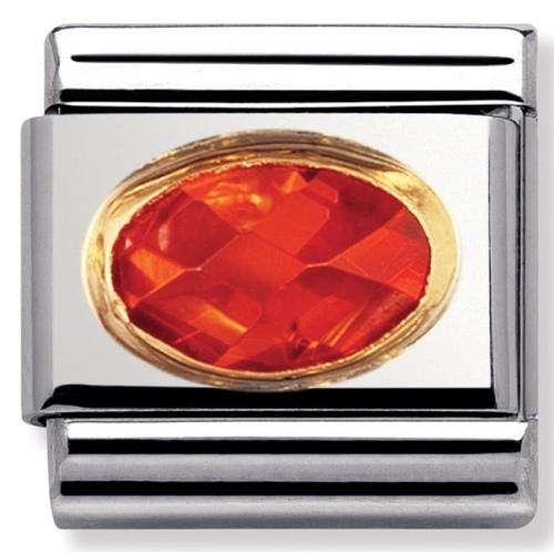 Nomination - Link 18K Gold 'Pomarańczowa Cyrkonia' 030601/026