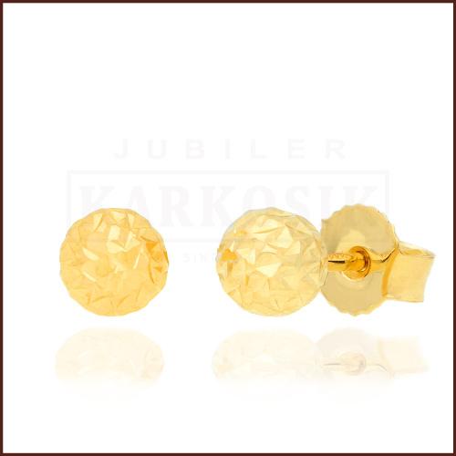 Złote kolczyki - Diamentowane kulki 6mm pr.333