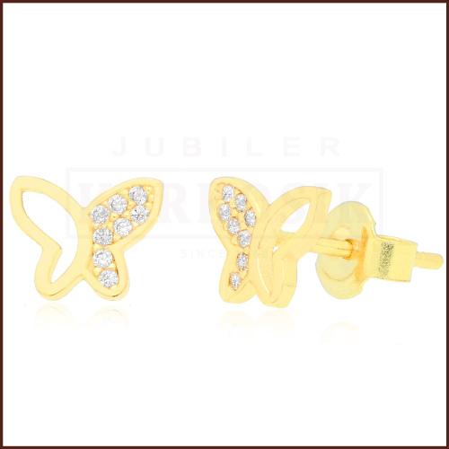 Złote kolczyki z cyrkoniami - Motylki pr.333