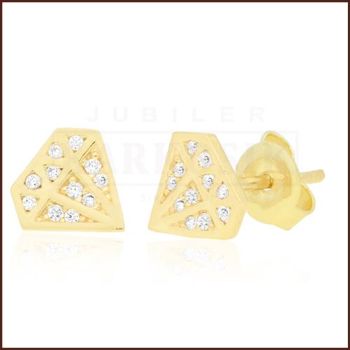 Złote kolczyki z cyrkoniami - Diamenty pr.333