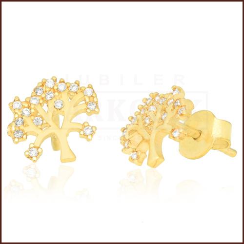 Złote kolczyki z cyrkoniami - Drzewka pr.333