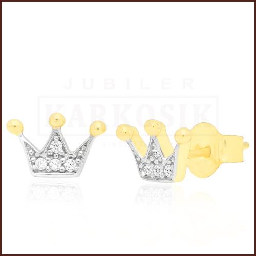 Złote kolczyki z cyrkoniami - Korony pr.333