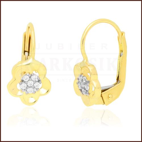 Złote kolczyki z cyrkoniami - Kwiatki pr.333