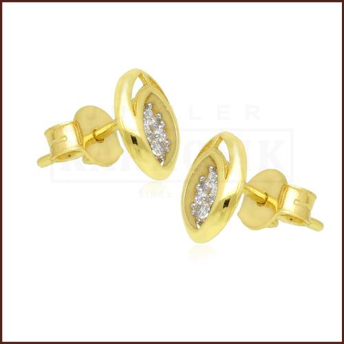 Złote kolczyki z cyrkoniami - Elipsy pr.333