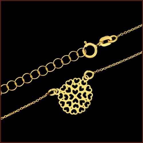 Złoty Naszyjnik Celebrytka - Serduszka pr.585