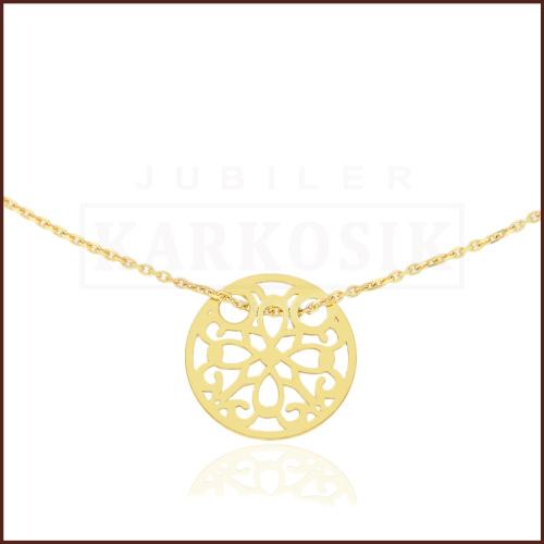 Złoty Naszyjnik Celebrytka - Ażurowe Kółeczko pr.585