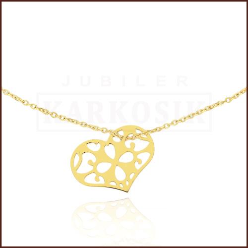 Złoty Naszyjnik Celebrytka - Ażurowe Serduszko pr.585