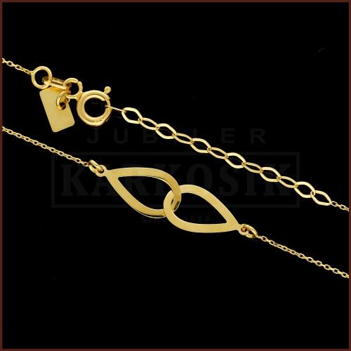 Złoty Naszyjnik Celebrytka - Splecione Krople pr.585