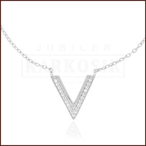 Srebrny Naszyjnik Celebrytka z Cyrkoniami - V pr.925