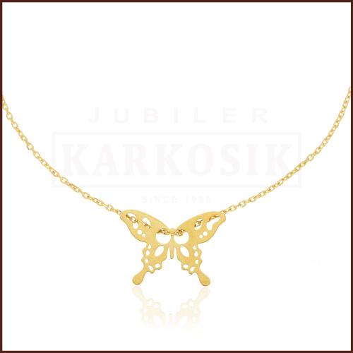 Pozłacany Naszyjnik Celebrytka - Motylek pr.925
