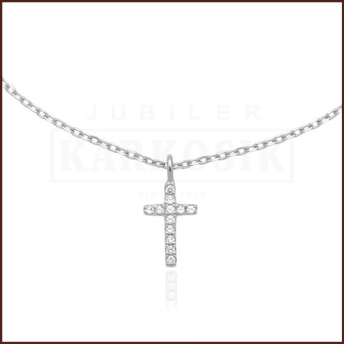 Srebrny Naszyjnik Celebrytka z Cyrkoniami - Krzyżyk pr.925