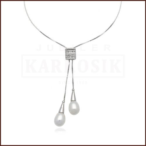Srebrny Naszyjnik z Perłami pr.925