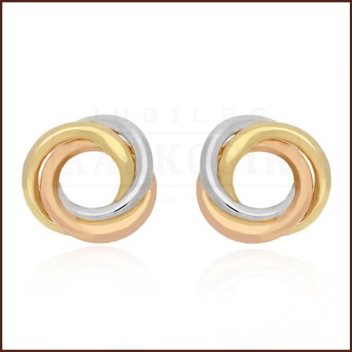 Złote kolczyki - Splecione Koła pr.585