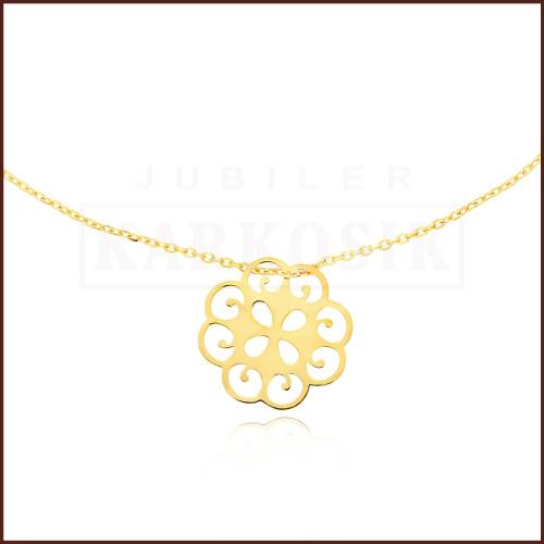 Złoty Naszyjnik Celebrytka - Ażurowy Kwiatek pr.585