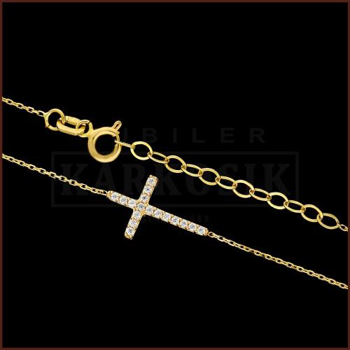 Złoty Naszyjnik Celebrytka  z Cyrkoniami - Krzyżyk pr.585