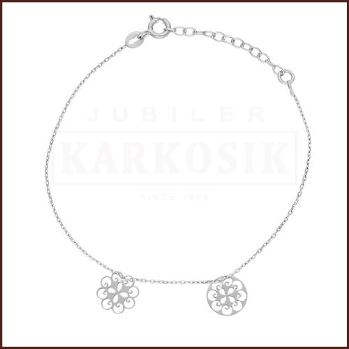 Srebrna Bransoletka Celebrytka - Ażurowy Kwiatek, Kółeczko pr.925