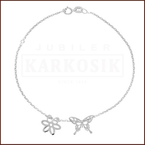 Pozłacana Bransoletka Celebrytka - Kwiatek i Motylek pr.925