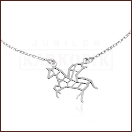 Srebrny Naszyjnik Celebrytka Origami - Jednorożec pr.925